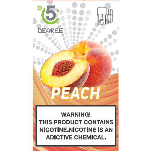 5 DEGREE JUUL COMPATIBLE Premium Eliquid PODS 1ml capacity - 4 PACK - Peach