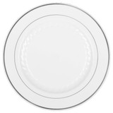 "Silver Splendor 10"" White with Silver Rim Plastic Plates - Case of 120"