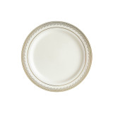"Decor China-Like Prestige 7.25"" Cream-Gold Plastic Plates - 10 Per Pkg"