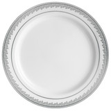 "Decor China-Like Prestige 10.25"" White-Silver Plastic Plates - 10 Per Pkg"