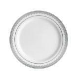 "Decor China-Like Prestige 9"" White-Silver Plastic Plates - 10 Per Pkg"