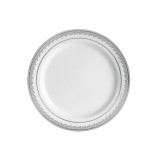 "Decor China-Like Prestige 7.25"" White-Silver Plastic Plates - 10 Per Pkg"