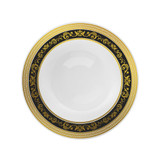 Decor China-Like Royal 12 oz. Black-Gold Plastic Soup Bowls - 10 Per Pkg