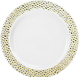 "Lillian China-Like Pebbled Gold 10.25"" Plastic Plates - Case of 120"