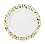 "Lillian China-Like Pebbled Gold 7"" Plastic Plates - Case of 120"