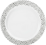 "Lillian China-Like Pebbled Silver 10.25"" Plastic Plates - Case of 120"