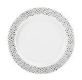 "Lillian China-Like Pebbled Silver 7"" Plastic Plates - Case of 120"