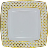 "Decor China-Like Diamond 9.75"" White-Gold Square Plastic Plates - Pkg of 10"