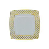 "Decor China-Like Diamond 6.2"" White-Gold Square Plastic Plates - Pkg of 10"