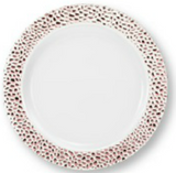 "Lillian China-Like Pebbled Rose Gold 10.25"" Plastic Plates - Case of 120"