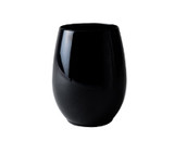 Renaissance 12 oz. Reusable Black Stemless Plastic Goblets - Case of 48