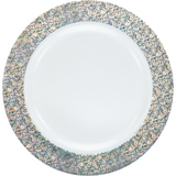 "Decor China-Like Glitter 10.25"" White-Silver Plastic Plates - 10 Per Pkg"
