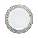 "Decor China-Like Glitter 7.5"" White-Silver Plastic Plates - 10 Per Pkg"