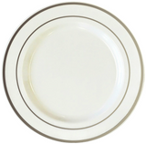 "White 10.5"" Plastic Plates With Metallic Silver Rim - Case of 100"