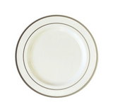 "White 7.5"" Plastic Plates With Metallic Silver Rim - Case of 200"