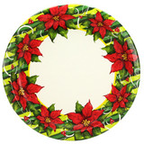 "Poinsettia Wreath 10.25"" Paper Plates"