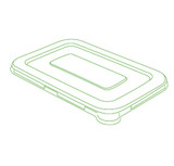 "Conserveware 8.5"" x 5.5"" Flat Clear Lids For Rectangular  Bagasse Bowls (All Sizes)-300/Case"