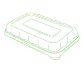 "Conserveware 8.5"" x 5.5"" Dome Clear Lids For Rectangular  Bagasse Bowls (All Sizes)-300/Case"