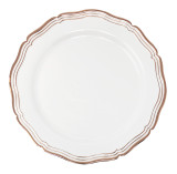 "Decor Aristocrat 7"" Rose Gold Rim Plastic Plates - 10 Per Pkg"
