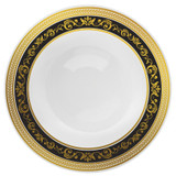 "Decor China-Like Royal 9"" Black-Gold Plastic Plates- 10 Per Pkg"