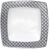 "Decor China-Like Diamond 9.75"" Clear-Silver Square Plastic Plates - 10 Per Pkg"