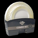 Decor Sphere Gold and White Combo Package - 16 Dinner & 16 Salad Plates