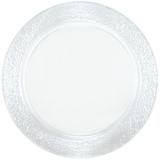"Lillian 13.5"" Pebbled Rim Clear Round Serving Tray - 2 Per Pkg"