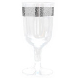 Decor Inspiration 6 oz Silver Plastic Wine Glasses - Pkg of 10