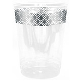 Decor Diamond 10 oz Silver Plastic Tumblers - Pkg of 10