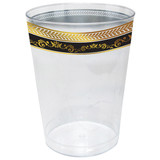 Decor Royal 10 oz Gold-Black Plastic Tumblers - Pkg of 10