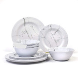 Marble Design Melamine Set of Plates and Bowls- 4 Dinner Plates, 4 Salad Plates and 4 Soup Bowls