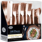 Lillian Polished Rose Gold Cutlery Combo Box - 80 Forks, 40 Spoons, 40 Knives