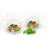Decor Mini 3 oz Square Plastic Bowls With Dome Lids - Case of 120