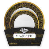 Decor Majestic Black And Gold Combo Plastic Plates - 16 Dinner Plates and 16 Salad Plates