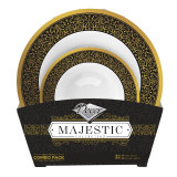 Decor Majestic Black And Gold Combo Plastic Bowls - 16 Soup Bowls and 16 Dessert Plates