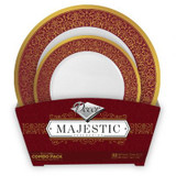 Decor Majestic Burgundy And Gold Combo Plastic Plates - 16 Dinner Plates and 16 Salad Plates