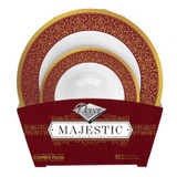 Decor Majestic Burgundy And Gold Combo Plastic Bowls - 16 Soup Bowls and 16 Dessert Plates