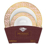 Decor Mosaic Rose Gold and Pink Combo Package - 16 Soup Bowls & 16 Dessert Bowls
