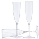 Decor Heavyweight Plastic Clear 6 oz Champagne Flutes - Case of 96