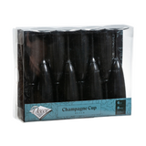Decor Heavyweight Plastic Black 6 oz Champagne Flutes - Case of 96