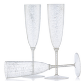 Decor Heavyweight Plastic Silver Glitter 6 oz Champagne Flutes - Case of 96