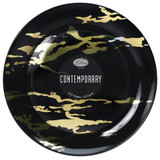 "Lillian Contemporary 10.5"" Black and Gold Marble Look Dinner Plates - Case of 120"