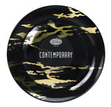 """Lillian Contemporary 8"""" Black and Gold Marble Look Salad Plates - Case of 120"""