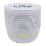 Lillian Contemporary 24 oz White and Gold Marble Look Soup Bowls - Case of 120