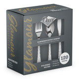 Decor Glamour Polished Silver Plastic Cutlery Combo Box - 40 Forks, 40 Soup Spoons, and 40 Knives