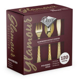 Decor Glamour Polished Gold Plastic Cutlery Combo Box - 40 Forks, 40 Soup Spoons, and 40 Knives