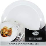 Lillian Contemporary White Combo Plate Set - 20 Dinner Plates & 20 Salad Plates