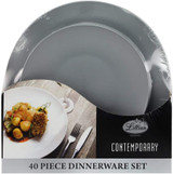 Lillian Contemporary Silver Combo Plate Set - 20 Dinner Plates & 20 Salad Plates