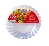 "Caterer Choice Clear Heavyweight Plastic 6"" Plates - Pkg of 100"