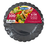 "Caterer Choice Black Heavyweight Plastic 6"" Plates - Pkg of 100"